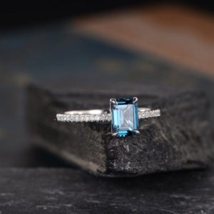 Emerald Cut London Blue Topaz Engagement Ring White Gold Solitaire Half Eternity Diamond Bridal Wedding Women Anniversary Gift For Her   Natural genuine Gemstone rings, simple unique alternative gemstone engagement rings. #rings #jewelry #bridal #wedding #jewelryaccessories #engagementrings #weddingideas #affiliate #ad