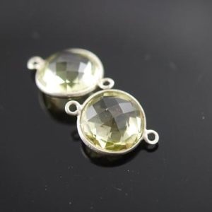 Shop Topaz Round Beads! Lemon Topaz Round Connector In Sterling Silver 2 Pieces 20.00 On Sale 14.00 | Natural genuine round Topaz beads for beading and jewelry making.  #jewelry #beads #beadedjewelry #diyjewelry #jewelrymaking #beadstore #beading #affiliate #ad