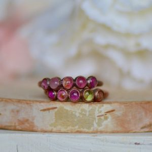 Shop Tourmaline Rings! Birthstone Ring, Tourmaline Ring, Multi Stone Ring, Electroformed Jewelry, Gemstone Ring, Gift For Her, Boho Ring, Stacking Ring, Crystals   Natural genuine Tourmaline rings, simple unique handcrafted gemstone rings. #rings #jewelry #shopping #gift #handmade #fashion #style #affiliate #ad