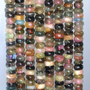 Shop Tourmaline Rondelle Beads! 6X4-5X1MM  Tourmaline Gemstone Rondelle Heishi Loose Beads 7.5 inch Half Strand (80003507 H-A157) | Natural genuine rondelle Tourmaline beads for beading and jewelry making.  #jewelry #beads #beadedjewelry #diyjewelry #jewelrymaking #beadstore #beading #affiliate #ad