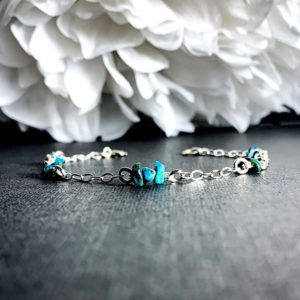 Shop Turquoise Bracelets! Turquoise Satellite Bracelet, Sterling Silver Anklet | Natural genuine Turquoise bracelets. Buy crystal jewelry, handmade handcrafted artisan jewelry for women.  Unique handmade gift ideas. #jewelry #beadedbracelets #beadedjewelry #gift #shopping #handmadejewelry #fashion #style #product #bracelets #affiliate #ad