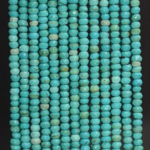 Shop Turquoise Faceted Beads! 4x3MM Turquoise Gemstone Faceted Rondelle Loose Beads 14 Inch Full Strand (80007243-A251) | Natural genuine faceted Turquoise beads for beading and jewelry making.  #jewelry #beads #beadedjewelry #diyjewelry #jewelrymaking #beadstore #beading #affiliate #ad