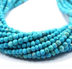 """Shop Turquoise Faceted Beads! Awesome Quality 1 Strand Turquoise Gemstone, 13"""" Long Faceted Rondelle Beads, Size 3-3.5 MM Turquoise Beads Making Jewelry Blue Turquoise 
