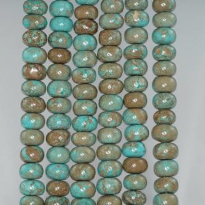 Shop Turquoise Rondelle Beads! 8 x 5 – 9 x 6MM Boulder Creek Turquoise Gemstone RONDELLE Loose Beads 15.5 inch Full Strand (90184791-A127)   Natural genuine rondelle Turquoise beads for beading and jewelry making.  #jewelry #beads #beadedjewelry #diyjewelry #jewelrymaking #beadstore #beading #affiliate #ad