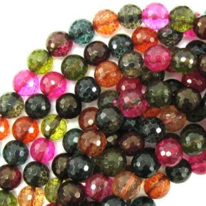 """Shop Watermelon Tourmaline Beads! 10mm faceted watermelon tourmaline quartz round beads 15.5"""" strand 31354 