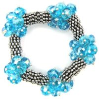"""Crystal Silver Plated Daisy Stretch Bracelet 7"""" Zircon 11833 
