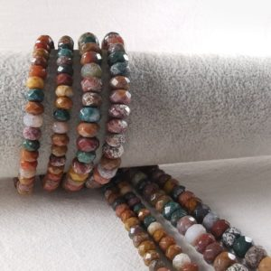 Shop Ocean Jasper Rondelle Beads! 1 Full Strand Faceted Rondelle Ocean Agate Beads, Multicolor Rondelle Agate Beads, Gemstone Beads, 6 / 8 mm To Choose From, Wholesale, A-273 | Natural genuine rondelle Ocean Jasper beads for beading and jewelry making.  #jewelry #beads #beadedjewelry #diyjewelry #jewelrymaking #beadstore #beading #affiliate #ad