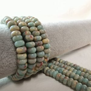 Shop Ocean Jasper Rondelle Beads! 1 Full Strand Impression Jasper Rondelle Beads, 6×10 mm, Gemstone Rondelle Beads, Jasper Spacer Beads, Stone Beads, Wholesale, A-077 | Natural genuine rondelle Ocean Jasper beads for beading and jewelry making.  #jewelry #beads #beadedjewelry #diyjewelry #jewelrymaking #beadstore #beading #affiliate #ad