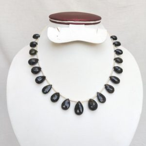 Shop Black Tourmaline Bead Shapes! 150 Carats Natural Black Tourmaline Faceted Briolette / Teardrops , 13 to 18 mm , 19 Pcs , Gemstone Beads for Jewelry Making. | Natural genuine other-shape Black Tourmaline beads for beading and jewelry making.  #jewelry #beads #beadedjewelry #diyjewelry #jewelrymaking #beadstore #beading #affiliate #ad
