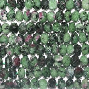 """Shop Ruby Zoisite Rondelle Beads! 16""""St Ruby Zoisite Faceted Rondelle Beads 8x5mm.-Strand 40mm 