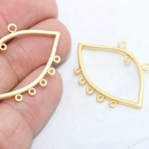 Shop Jewelry Connectors! 22x35mm 24k Matt Gold Eye Pendant, Connector Pendant, Pendant Charms, Multi Hole Charms, Eye Connector, Pendant, Gold Plated Findings, MTE18   Shop jewelry making and beading supplies, tools & findings for DIY jewelry making and crafts. #jewelrymaking #diyjewelry #jewelrycrafts #jewelrysupplies #beading #affiliate #ad