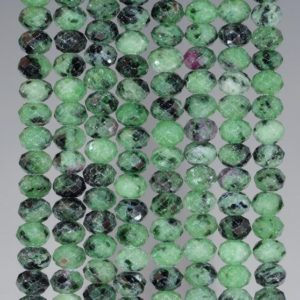Shop Ruby Zoisite Rondelle Beads! 6x4mm Ruby Zoisite Gemstone Grade A Green Fine Faceted Cut Rondelle Loose Beads 15.5 inch Full Strand (80001680-792) | Natural genuine rondelle Ruby Zoisite beads for beading and jewelry making.  #jewelry #beads #beadedjewelry #diyjewelry #jewelrymaking #beadstore #beading #affiliate #ad