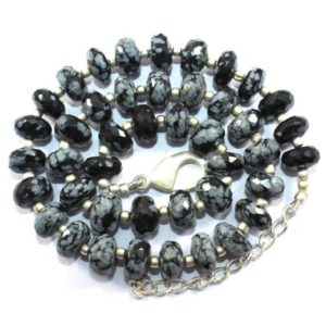 Shop Obsidian Rondelle Beads! 70% Off Sale 8 To 9mm Natural Snowflake Black Obsidian 159.50 Carat Beads Obsidian Faceted Rondelle Beads Strand 17.5 Inch Long | Natural genuine rondelle Obsidian beads for beading and jewelry making.  #jewelry #beads #beadedjewelry #diyjewelry #jewelrymaking #beadstore #beading #affiliate #ad
