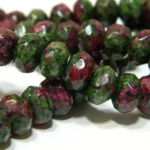 """Shop Ruby Zoisite Rondelle Beads! 8x5MM Faceted Natural Ruby in Zoisite Rondelle Beads – Faceted Gemstone Rondelle Beads – 15"""" Strand Ruby in Zoisite Beads / 76 Beads RZ01 