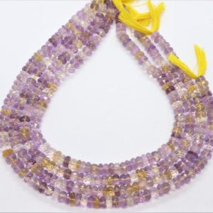 Shop Ametrine Rondelle Beads! AAA Natural Ametrine Faceted Rondelle Beads, 7-7.5 MM Ametrine Beads, 13 Inch Faceted Ametrine Rondelle bead, Wholesale Gemstone bead | Natural genuine rondelle Ametrine beads for beading and jewelry making.  #jewelry #beads #beadedjewelry #diyjewelry #jewelrymaking #beadstore #beading #affiliate #ad