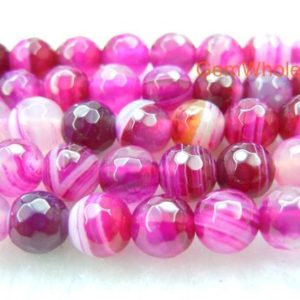 """15"""" pink agate 6mm/8mm/10mm/12mm round faceted beads, pink purple gemstone DIY beads, semi-precious stone, gemstone wholesaler 