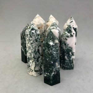 Shop Agate Points & Wands! A Tree Agate Point | Natural genuine stones & crystals in various shapes & sizes. Buy raw cut, tumbled, or polished gemstones for making jewelry or crystal healing energy vibration raising reiki stones. #crystals #gemstones #crystalhealing #crystalsandgemstones #energyhealing #affiliate #ad