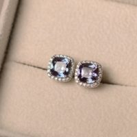 Lab Alexandrite Earrings, Cushion Cut, Color Changing Gemstone, halo Earrings, Stud Earrings, June Birthstone   Natural genuine Gemstone jewelry. Buy crystal jewelry, handmade handcrafted artisan jewelry for women.  Unique handmade gift ideas. #jewelry #beadedjewelry #beadedjewelry #gift #shopping #handmadejewelry #fashion #style #product #jewelry #affiliate #ad