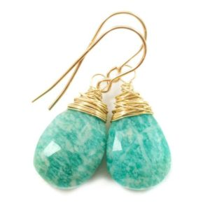 Shop Amazonite Earrings! Amazonite Earrings Blue Green Faceted Sterling Silver or 14k Solid Gold or Rose Gold Filled Natural Pear Messy Wire Wrapped Soft Teal color | Natural genuine Amazonite earrings. Buy crystal jewelry, handmade handcrafted artisan jewelry for women.  Unique handmade gift ideas. #jewelry #beadedearrings #beadedjewelry #gift #shopping #handmadejewelry #fashion #style #product #earrings #affiliate #ad