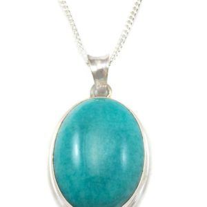 Shop Amazonite Pendants! Amazonite Pendant Necklace Sterling Silver Chain Link Faceted  18 Inches Natural Earthy Blue Green Large Cabachon Oval Bezel Setting | Natural genuine Amazonite pendants. Buy crystal jewelry, handmade handcrafted artisan jewelry for women.  Unique handmade gift ideas. #jewelry #beadedpendants #beadedjewelry #gift #shopping #handmadejewelry #fashion #style #product #pendants #affiliate #ad