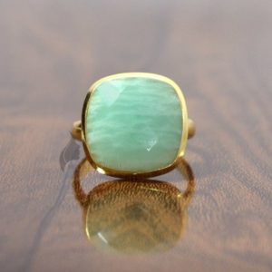 Shop Amazonite Rings! Amazonite Ring, Elegant Cushion Shape Natural Amazonite Gemstone Ring, 925 Sterling Silver Ring, 18k Gold Plated Ring, Handmade Ring For Her | Natural genuine Amazonite rings, simple unique handcrafted gemstone rings. #rings #jewelry #shopping #gift #handmade #fashion #style #affiliate #ad