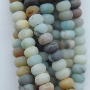 """Shop Amazonite Rondelle Beads! Genuine Matte Amazonite Rondelle Beads – 6 x 4 mm Gemstone Beads – Full Strand 16"""", 92 beads, A Quality 