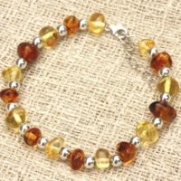 Bracelet 925 Sterling Silver And Baltic Amber Honey Cognac 7-11mm | Natural genuine Gemstone jewelry. Buy crystal jewelry, handmade handcrafted artisan jewelry for women.  Unique handmade gift ideas. #jewelry #beadedjewelry #beadedjewelry #gift #shopping #handmadejewelry #fashion #style #product #jewelry #affiliate #ad