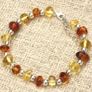 Shop Amber Bracelets! Bracelet 925 sterling silver and Baltic amber honey Cognac 7-11mm | Natural genuine Amber bracelets. Buy crystal jewelry, handmade handcrafted artisan jewelry for women.  Unique handmade gift ideas. #jewelry #beadedbracelets #beadedjewelry #gift #shopping #handmadejewelry #fashion #style #product #bracelets #affiliate #ad