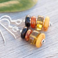 Natural Amber Earrings, Baltic Amber Earrings, Honey Amber, Green Amber, Four Varieties Of Amber, Golden Earrings, Sterling Silver | Natural genuine Gemstone jewelry. Buy crystal jewelry, handmade handcrafted artisan jewelry for women.  Unique handmade gift ideas. #jewelry #beadedjewelry #beadedjewelry #gift #shopping #handmadejewelry #fashion #style #product #jewelry #affiliate #ad