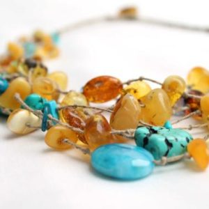 Multi Strand Necklace Yellow Sky Blue Teal Turquoise Jewelry Beach Style Necklace Blue Honey Baltic Amber Sea Finds Summer Fashion Jewelry | Natural genuine Amber necklaces. Buy crystal jewelry, handmade handcrafted artisan jewelry for women.  Unique handmade gift ideas. #jewelry #beadednecklaces #beadedjewelry #gift #shopping #handmadejewelry #fashion #style #product #necklaces #affiliate #ad