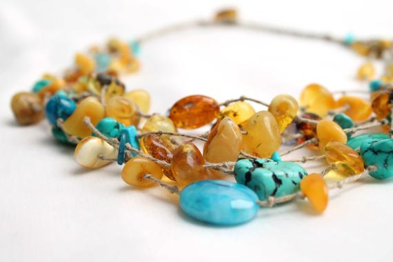 Multi Strand Necklace Yellow Sky Blue Teal Turquoise Jewelry Beach Style Necklace Blue Honey Baltic Amber Sea Finds Summer Fashion Jewelry
