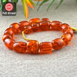 Shop Amber Bead Shapes! Natural Amber 11.5-17mm Smooth Barrel Shape Gemstone Beads / Approx. 18 Pieces on 13 Inch Long Strand / JBC-ET-157346   Natural genuine other-shape Amber beads for beading and jewelry making.  #jewelry #beads #beadedjewelry #diyjewelry #jewelrymaking #beadstore #beading #affiliate #ad