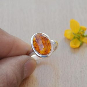 Natural Amber Ring,Solid 925 Sterling Silver Orange Gemstone Ring,Baltic Amber Ring,Gift for her,Natural Birthstone Ring Gift,Handmade Ring | Natural genuine Amber rings, simple unique handcrafted gemstone rings. #rings #jewelry #shopping #gift #handmade #fashion #style #affiliate #ad
