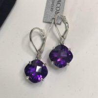 Beautiful 9ctw Cushion Cut Amethyst Earrings Sterling Silver Royal Purple Lever Back Jewelry Trends Gift Trending Dangle 10mm February Wife | Natural genuine Gemstone jewelry. Buy crystal jewelry, handmade handcrafted artisan jewelry for women.  Unique handmade gift ideas. #jewelry #beadedjewelry #beadedjewelry #gift #shopping #handmadejewelry #fashion #style #product #jewelry #affiliate #ad