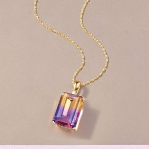 14.89 Carat Natural Ametrine Gemstone & Diamond Pendant in 14k Solid Yellow Gold Emerald Cut Gemstone Pendant Anniversary Gift for Wife | Natural genuine Ametrine pendants. Buy crystal jewelry, handmade handcrafted artisan jewelry for women.  Unique handmade gift ideas. #jewelry #beadedpendants #beadedjewelry #gift #shopping #handmadejewelry #fashion #style #product #pendants #affiliate #ad