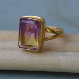 Cushion Cut Ametrine Quartz Gemstone Ring, Sterling Silver Yellow Plated, Rose Gold Plated Gold Ring, Purple Yellow Ametrine Gift Ring | Natural genuine Gemstone rings, simple unique handcrafted gemstone rings. #rings #jewelry #shopping #gift #handmade #fashion #style #affiliate #ad