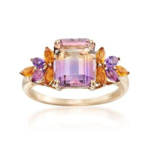 Shop Ametrine Rings! Natural Ametrine 2.47 Carat Gemstone  Ring with Marquise Citrines &  Amethysts in 14k Solid Yellow Gold Jewelry Blossom Royal Queen Ring | Natural genuine Ametrine rings, simple unique handcrafted gemstone rings. #rings #jewelry #shopping #gift #handmade #fashion #style #affiliate #ad