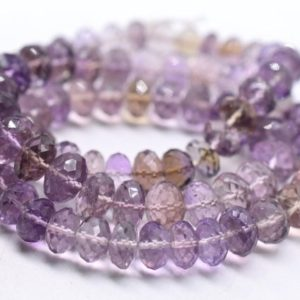 """Shop Ametrine Rondelle Beads! Ametrine Rondelle Shape Faceted Beads 8×10.MM Approx 8.5""""Inches Natural Top Quality Wholesaler Price. 