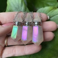 Angel Aura Rose Quartz Perfume Bottle Necklace, Crystal Bottle Necklace, Gemstone Bottle Necklace, Perfume Bottle Necklace | Natural genuine Gemstone jewelry. Buy crystal jewelry, handmade handcrafted artisan jewelry for women.  Unique handmade gift ideas. #jewelry #beadedjewelry #beadedjewelry #gift #shopping #handmadejewelry #fashion #style #product #jewelry #affiliate #ad