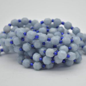 """Shop Angelite Beads! Grade A Natural Angelite Semi-precious Gemstone Double Tip Faceted Round Beads – 5mm X 6mm – 15.5"""" Strand 