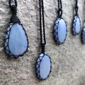 Shop Angelite Pendants! Macrame Angelite Necklace, Stress Relief Jewelry Gifts for Him/Her, Divine Protection Necklace, Calming Stone Pendant, Blue Necklace | Natural genuine Angelite pendants. Buy crystal jewelry, handmade handcrafted artisan jewelry for women.  Unique handmade gift ideas. #jewelry #beadedpendants #beadedjewelry #gift #shopping #handmadejewelry #fashion #style #product #pendants #affiliate #ad