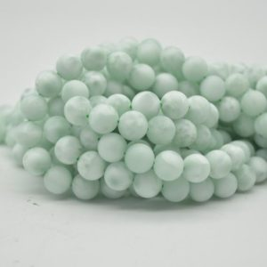 """Shop Angelite Beads! High Quality Grade A Green Angelite Semi-precious Gemstone Matte Frosted Round Beads – 10mm – 15.5"""" Strand 
