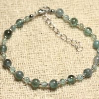 Bracelet 925 Sterling Silver And Apatite 3 – Stone And 5mm | Natural genuine Gemstone jewelry. Buy crystal jewelry, handmade handcrafted artisan jewelry for women.  Unique handmade gift ideas. #jewelry #beadedjewelry #beadedjewelry #gift #shopping #handmadejewelry #fashion #style #product #jewelry #affiliate #ad