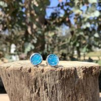 Neon Blue Apatite Silver Stud Earrings, Raw Gemstone Silver Studs, Gift For Wife Or Girlfriend | Natural genuine Gemstone jewelry. Buy crystal jewelry, handmade handcrafted artisan jewelry for women.  Unique handmade gift ideas. #jewelry #beadedjewelry #beadedjewelry #gift #shopping #handmadejewelry #fashion #style #product #jewelry #affiliate #ad