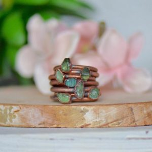 Green Apatite Ring, Raw Stone Ring, Electroformed Ring, Unique Gift for Her, Apatite Jewelry, Birthstone Ring, Boho Ring, Raw Gemstone Ring | Natural genuine Gemstone rings, simple unique handcrafted gemstone rings. #rings #jewelry #shopping #gift #handmade #fashion #style #affiliate #ad