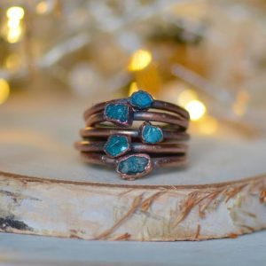 Raw Apatite Ring, Electroformed Jewelry, Unique Gift for Her, Raw Crystal Ring, Bohemian Jewelry, Raw Stone Ring, Stacking Ring, Blue Ring | Natural genuine Gemstone rings, simple unique handcrafted gemstone rings. #rings #jewelry #shopping #gift #handmade #fashion #style #affiliate #ad