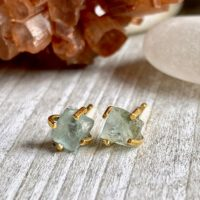 Aquamarine Birthstone Earrings, Raw Aquamarine Earrings, Birthstone Jewelry, Raw Aquamarine Studs, Gemstone Earrings, raw Stone Earring | Natural genuine Gemstone jewelry. Buy crystal jewelry, handmade handcrafted artisan jewelry for women.  Unique handmade gift ideas. #jewelry #beadedjewelry #beadedjewelry #gift #shopping #handmadejewelry #fashion #style #product #jewelry #affiliate #ad