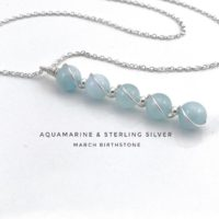 Aquamarine Pendant Necklace Sterling Silver, March Birthstone | Natural genuine Gemstone jewelry. Buy crystal jewelry, handmade handcrafted artisan jewelry for women.  Unique handmade gift ideas. #jewelry #beadedjewelry #beadedjewelry #gift #shopping #handmadejewelry #fashion #style #product #jewelry #affiliate #ad