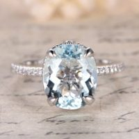 9x11mm Oval Cut Aquamarine Engagement Ring, filigree Ring, aquamarine Solitaire Ring, solid 14k White Gold, claw Prongs, Big Stone | Natural genuine Gemstone jewelry. Buy handcrafted artisan wedding jewelry.  Unique handmade bridal jewelry gift ideas. #jewelry #beadedjewelry #gift #crystaljewelry #shopping #handmadejewelry #wedding #bridal #jewelry #affiliate #ad