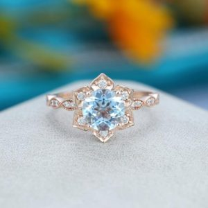 Aquamarine engagement ring rose gold Unique Flower engagement ring vintage Half eternity wedding Bridal Promise Anniversary gift for women | Natural genuine Array rings, simple unique alternative gemstone engagement rings. #rings #jewelry #bridal #wedding #jewelryaccessories #engagementrings #weddingideas #affiliate #ad